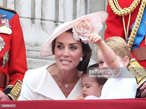 Catherine Duchess of Cambridge Prince George of Cambridge and Princess Charlotte of Cambridge the Trooping the Colour this year marking the Queen's...