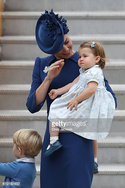 Catherine, Duchess of Cambridge, Prince George of Cambridge and Princess Charlotte of Cambridge arrive at the Victoria Airport on September 24, 2016...