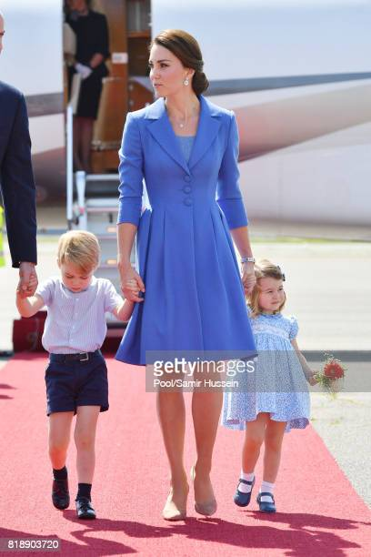 Catherine Duchess of Cambridge Prince George of Cambridge and Princess Charlotte of Cambridge arrive at Berlin military airport during an official...