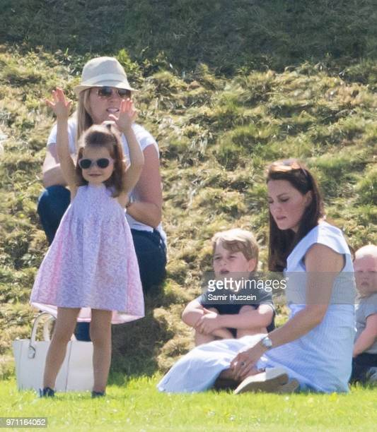 Catherine Duchess of Cambridge Prince George of Cambridge and Princess Charlotte of Cambridge attend the Maserati Royal Charity Polo Trophy at...