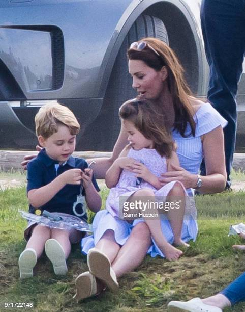 Catherine, Duchess of Cambridge, Prince George of Cambridge and Princess Charlotte of Cambridge attend the Maserati Royal Charity Polo Trophy at...