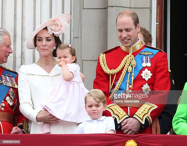 Catherine Duchess of Cambridge Prince George of Cambridge Princess Charlotte of Cambridge and Prince William Duke of Cambridge the Trooping the...
