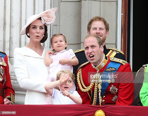 Catherine Duchess of Cambridge Prince George of Cambridge Princess Charlotte of Cambridg Prince William Duke of Cambridge and Prince Harry attend the...