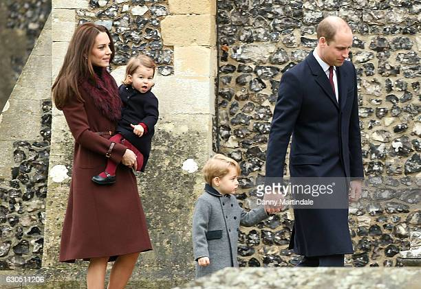 Catherine Duchess of Cambridge Prince George of Cambridge Princess Charlotte of Cambridge and Prince William Duke of Cambridge attend Church on...