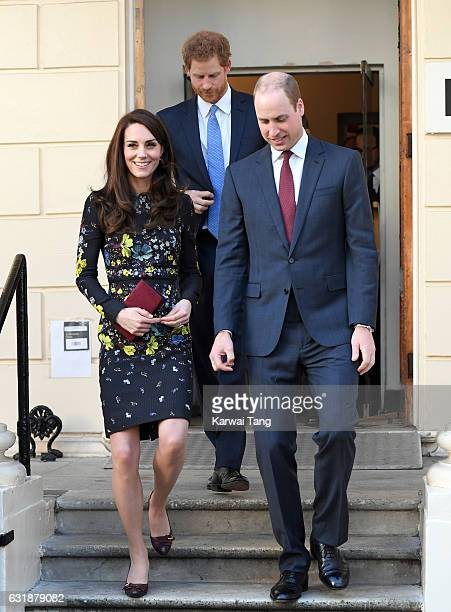 Catherine, Duchess of Cambridge, Prince Harry and Prince William, Duke of Cambridge arrive for a briefing to announce plans for Heads Together ahead...