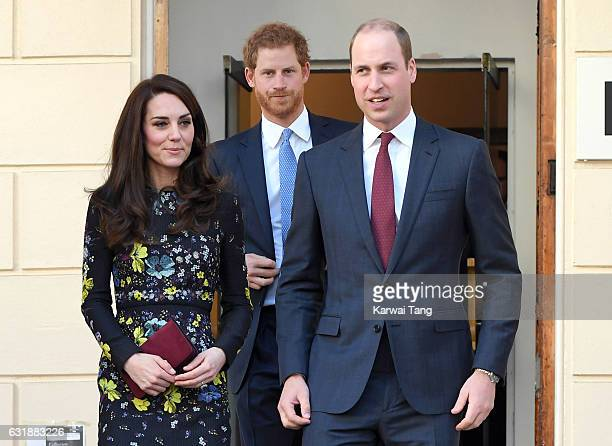 Catherine Duchess of Cambridge Prince Harry and Prince William Duke of Cambridge arrive for a briefing to announce plans for Heads Together ahead of...