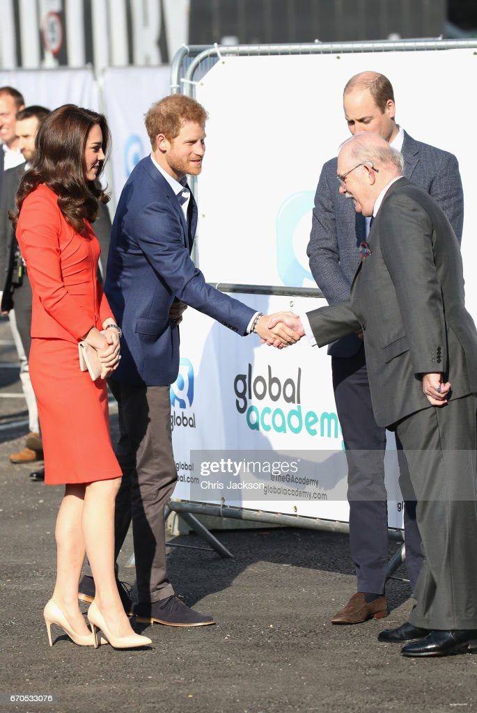 Catherine, Duchess of Cambridge, Prince Harry and Prince William, Duke of Cambridge attend the official opening of The Global Academy in support of Heads Together at The Global Academy on April 20, 2017 in Hayes, England. The Global Academy is a state school founded and operated by Global, The Media & Entertainment Group and will educate students for careers in broadcast and digital media.