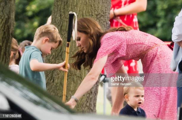 Catherine Duchess of Cambridge Prince Louis and Prince George attend The King Power Royal Charity Polo Day at Billingbear Polo Club on July 10 2019...