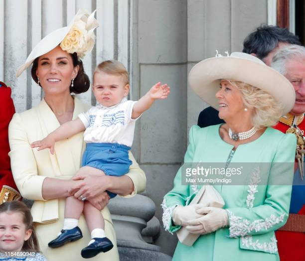 Catherine, Duchess of Cambridge, Prince Louis of Cambridge and Camilla, Duchess of Cornwall on the balcony of Buckingham Palace during Trooping The...