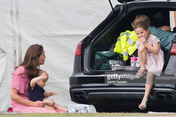 Catherine Duchess of Cambridge Prince Louis Prince George and Princess Charlotte attend The King Power Royal Charity Polo Day at Billingbear Polo...