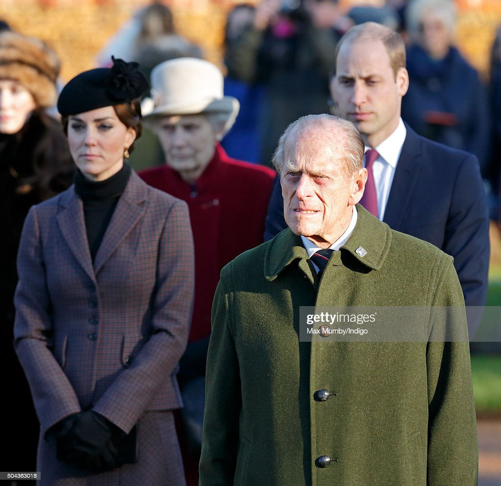 Catherine, Duchess of Cambridge, Prince Philip, Duke of Edinburgh and Prince William, Duke of Cambridge attend a wreath laying ceremony to mark the 100th anniversary of the final withdrawal from the Gallipoli Peninsula at the War Memorial Cross, Sandringham on January 10, 2016 in King's Lynn, England.