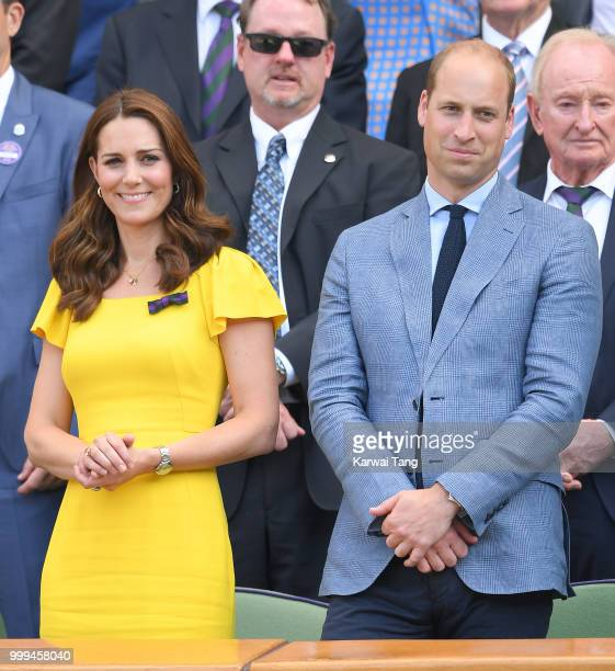 Catherine Duchess of Cambridge Prince William and Duke of Cambridge during the men's singles final on day thirteen of the Wimbledon Tennis...