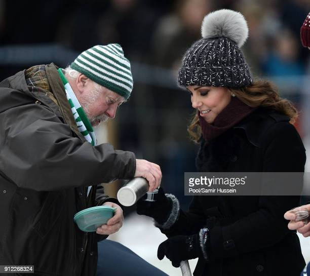 Catherine Duchess of Cambridge Prince William Duke of Cambridge attend a Bandy hockey match where they will learn more about the popularity of the...