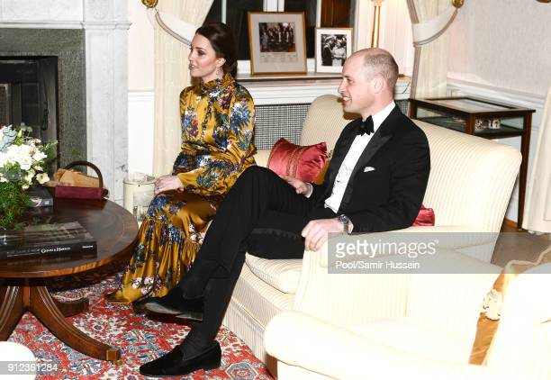 Catherine Duchess of Cambridge Prince William Duke of Cambridge attend a reception dinner at the British Ambassador's residence during day one of...