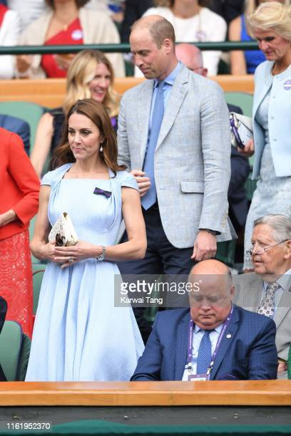 Catherine, Duchess of Cambridge, Prince William, Duke of Cambridge and Gill Brook in the Royal Box on Centre court during Men's Finals Day of the...