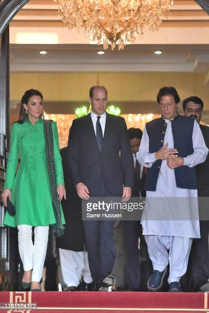 Catherine, Duchess of Cambridge, Prince William, Duke of Cambridge and Prime Minister of Pakistan Pakistan Imran Khan depart after a official meeting...