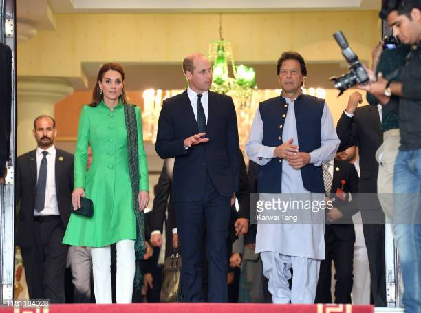 Catherine, Duchess of Cambridge, Prince William, Duke of Cambridge and Prime Minister of Pakistan Imran Khan pose after a official meeting at the...