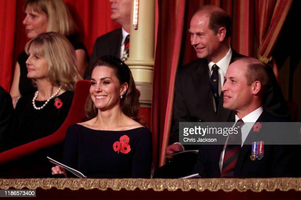 Catherine Duchess of Cambridge Prince William Duke of Cambridge and Prince Edward Earl of Wessex attend the annual Royal British Legion Festival of...