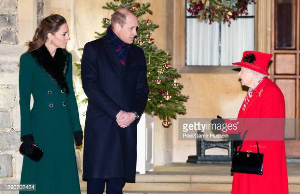 Catherine, Duchess of Cambridge, Prince William, Duke of Cambridge and Queen Elizabeth II wait to thank local volunteers and key workers for the work...