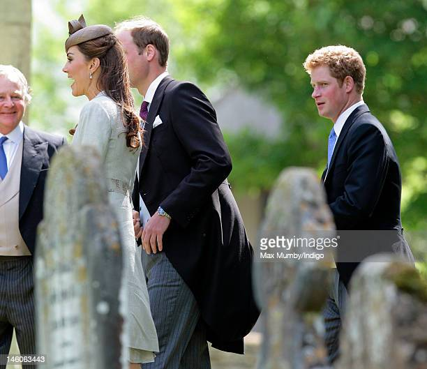 Catherine Duchess of Cambridge Prince William Duke of Cambridge and Prince Harry attend the wedding of Emily McCorquodale and James Hutt at The...