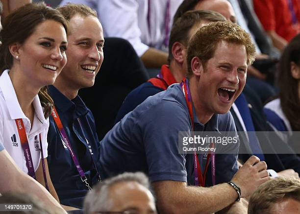 Catherine Duchess of Cambridge Prince William Duke of Cambridge and Prince Harry laugh as they watch the track cycling on Day 6 of the London 2012...