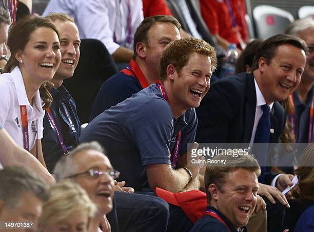 Catherine Duchess of Cambridge Prince William Duke of Cambridge Prince Harry and Prime Minister David Cameron laugh as they watch the track cycling...