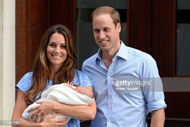 Catherine Duchess of Cambridge Prince William Duke of Cambridge and their newborn son Prince George of Cambridge leave the Lindo Wing of St Mary's...
