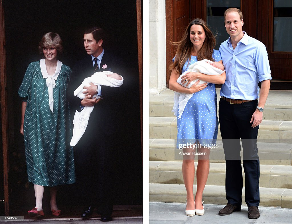 In this photo composite a comparison had been made between Prince Charles, Prince of Wales, Diana, Princess of Wales with newborn son Prince William (L) and Prince William, Duke of Cambridge, Catherine, Duchess of Cambridge, and their newborn son Prince George both leaving the Lindo Wing of St Mary's hospital. LONDON, UNITED KINGDOM - JULY 23: Catherine, Duchess of Cambridge, Prince William, Duke of Cambridge and their newborn son, Prince George of Cambridge leave the Lindo Wing of St Mary's hospital on July 23, 2013 in London, England.