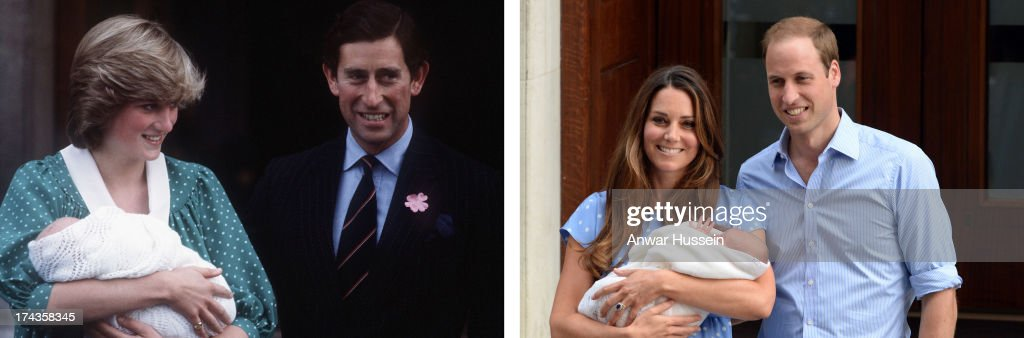 In this photo composite a comparison had been made between Prince Charles, Prince of Wales, Diana, Princess of Wales with newborn son Prince William (L) and Prince William, Duke of Cambridge, Catherine, Duchess of Cambridge, and their newborn son Prince George both leaving the Lindo Wing of St Mary's hospital.LONDON, UNITED KINGDOM - JULY 23: Catherine, Duchess of Cambridge, Prince William, Duke of Cambridge and their newborn son, Prince George of Cambridge leave the Lindo Wing of St Mary's hospital on July 23, 2013 in London, England.