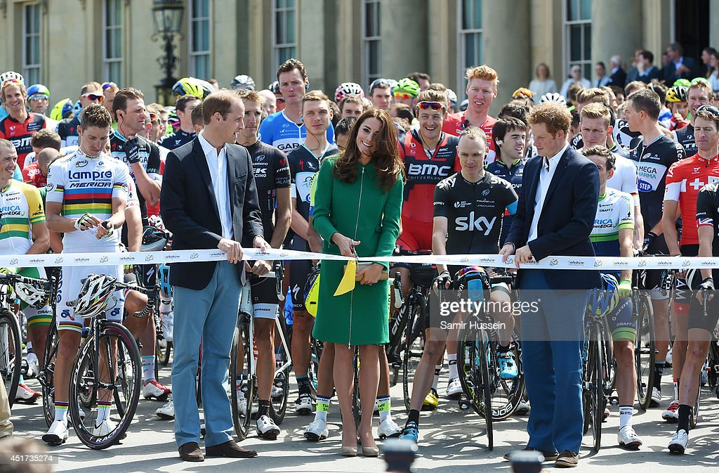 Catherine, Duchess of Cambridge, Prince William, Duke of Cambridge and Prince Harry attend the official start of the Tour de France at Harewood House on July 5, 2014 in Leeds, Yorkshire, England.