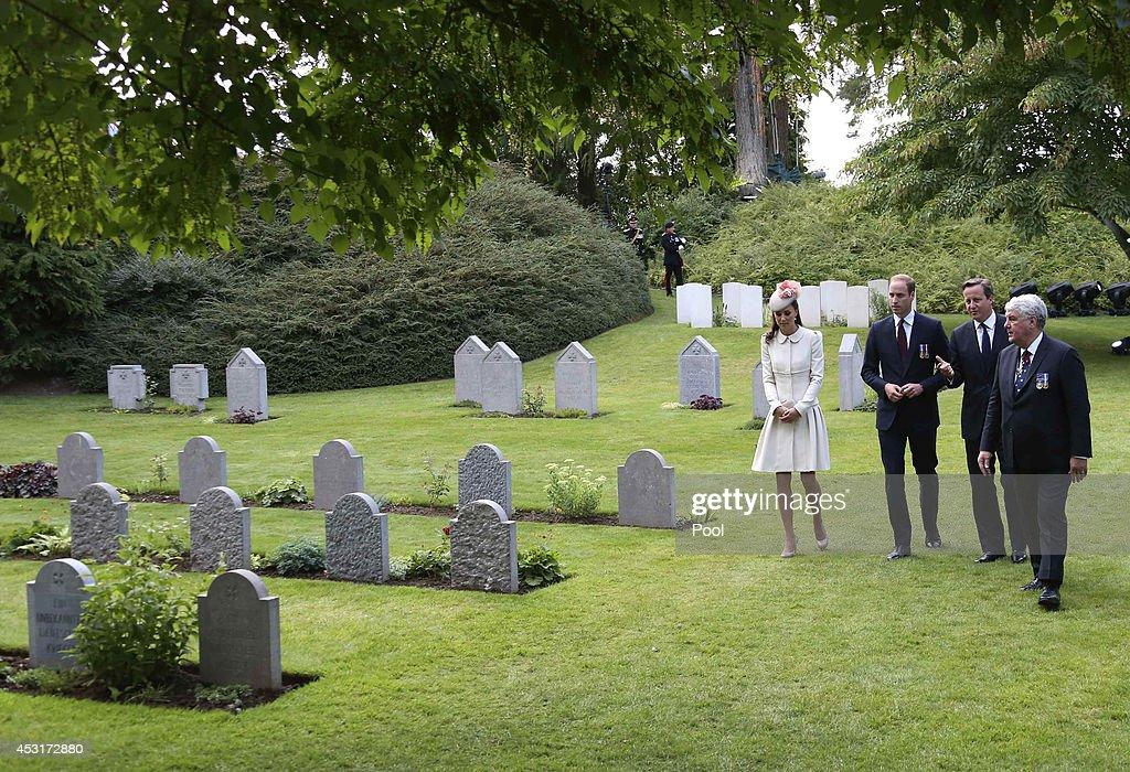 Duke & Duchess Of Cambridge And Prince Harry Attend St Symphorien Miltary Cemetery : News Photo