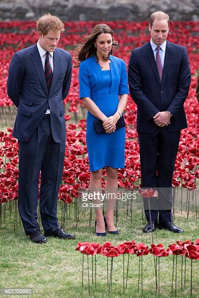 Catherine Duchess of Cambridge Prince William Duke of Cambridge and Prince Harry walk through an installation entitled 'Blood Swept Lands and Seas of...