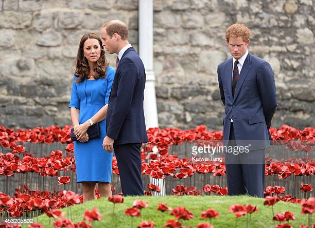 Catherine Duchess of Cambridge Prince William Duke of Cambridge and Prince Harry visits the Tower of London's 'Blood Swept Lands and Seas of Red'...