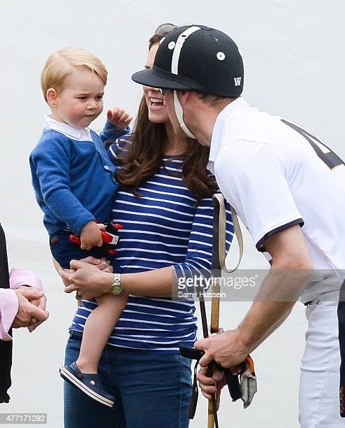 Catherine Duchess of Cambridge Prince William Duke of Cambridge and Prince George of Cambridge attend the Gigaset Charity Polo Match at Beaufort Polo...
