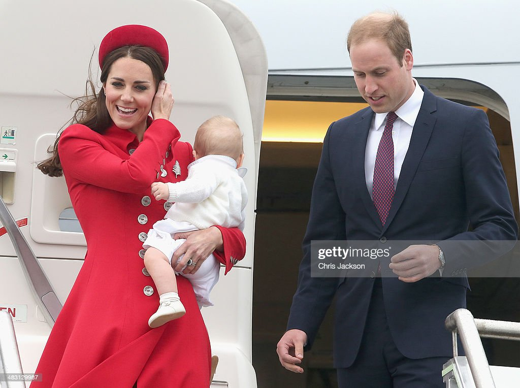 Catherine, Duchess of Cambridge, Prince William, Duke of Cambridge and Prince George of Cambridge arrive at Wellington Military Terminal on an RNZAF 757 from Sydney on April 7, 2014 in Wellington, New Zealand. The Royal Family have arrived in New Zealand for the first day of a Royal Tour to New Zealand and Australia. Over a period of three weeks the Royal trio will visit 12 Cities in New Zealand and Australia taking part in activities as wide ranging as a yacht race in Auckland Harbour, paying their respects to victims of the 2011 earthquake in Christchurch and visiting Ayres Rock in Australia.