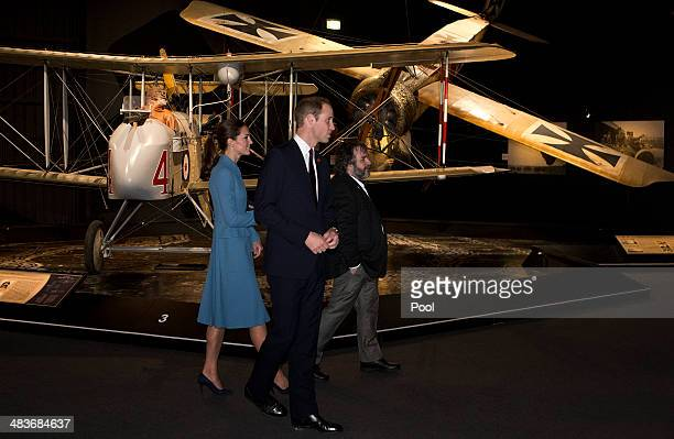 Catherine Duchess of Cambridge Prince William Duke of Cambridge and director Peter Jackson visit Omaka Aviation Heritage Centre on Day 4 of a Royal...