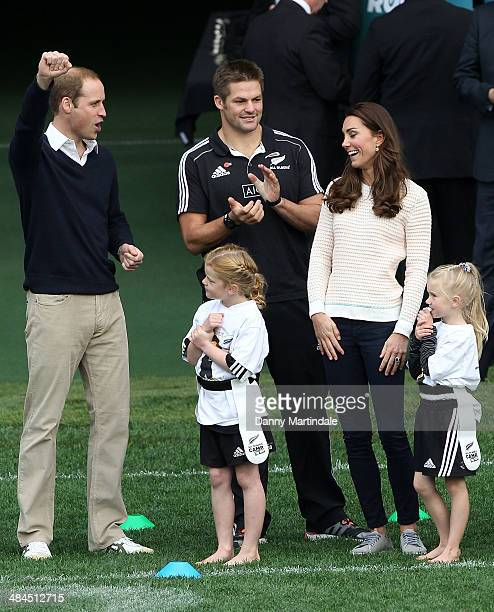 Catherine Duchess of Cambridge Prince William Duke of Cambridge and Richie McCaw watch a rugby match at a Rippa Rugby tornement at Forsyth Barr...