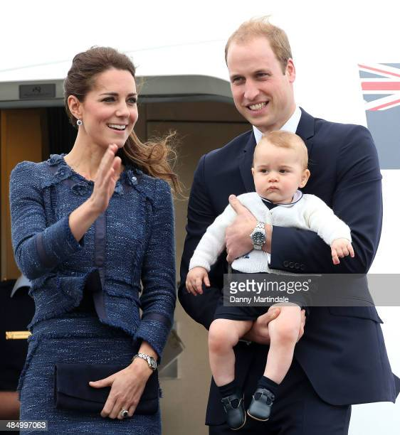 Catherine Duchess of Cambridge Prince William Duke of Cambridge and Prince George of Cambridge depart Wellington Airport on April 16 2014 in...