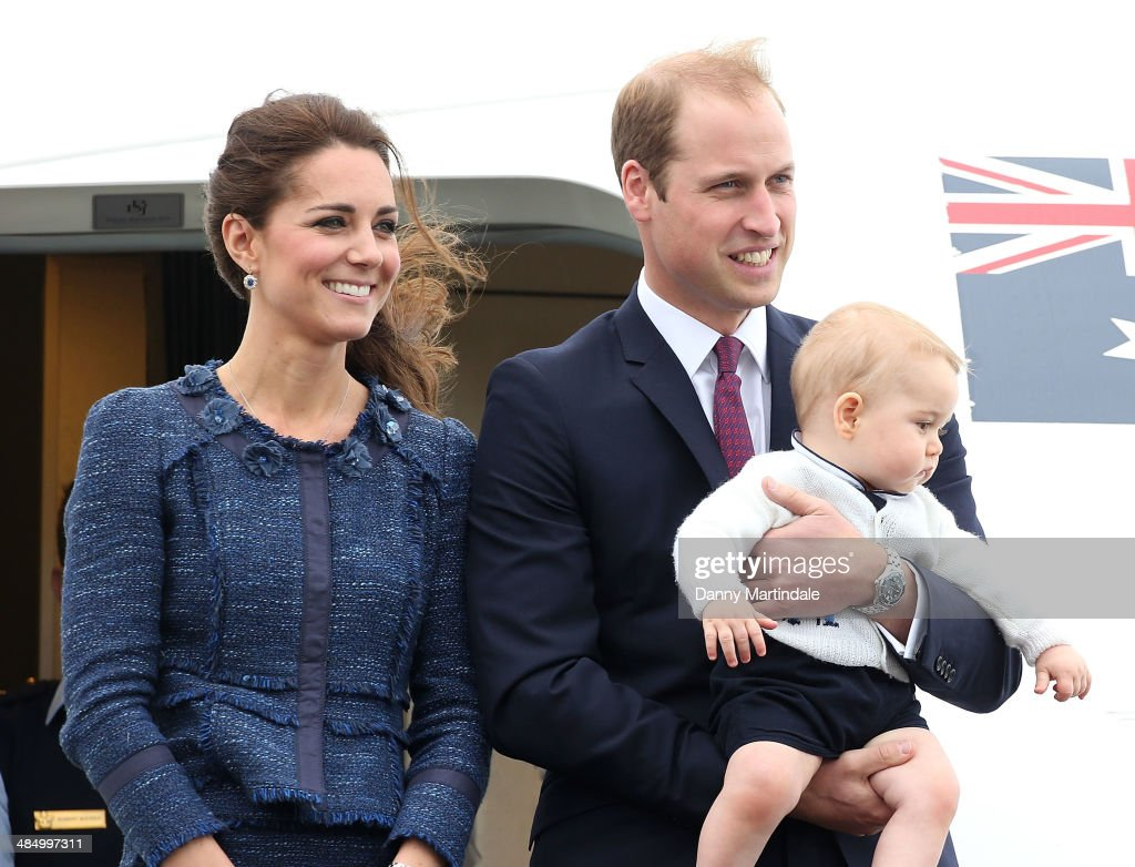 Catherine, Duchess of Cambridge, Prince William, Duke of Cambridge and Prince George of Cambridge depart Wellington Airport on April 16, 2014 in Wellington, New Zealand. The Duke and Duchess of Cambridge are on a three-week tour of Australia and New Zealand, the first official trip overseas with their son, Prince George of Cambridge.