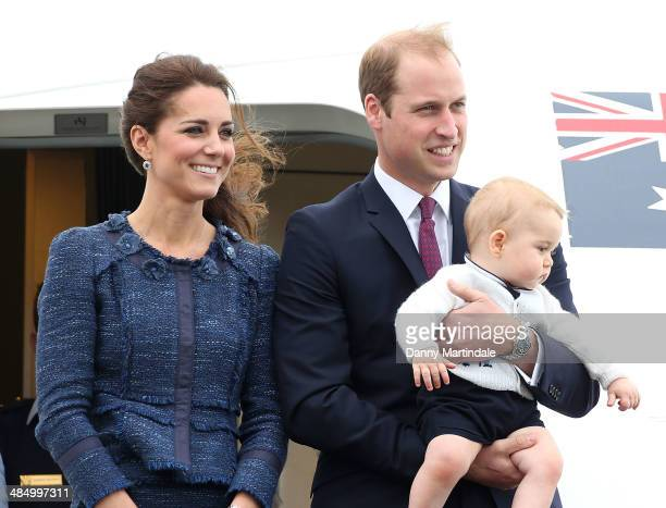 Catherine, Duchess of Cambridge, Prince William, Duke of Cambridge and Prince George of Cambridge depart Wellington Airport on April 16, 2014 in...