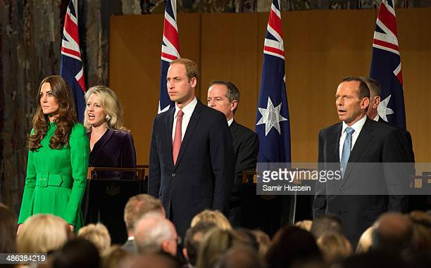 Catherine Duchess of Cambridge Prince William Duke of Cambridge and Tony Abbott Prime Minister of Australia attend the Australian Parliament on April...