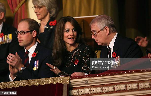 Catherine Duchess of Cambridge Prince William Duke of Cambridge and Prince Andrew Duke of York chat at the Royal Albert Hall for the Annual Festival...