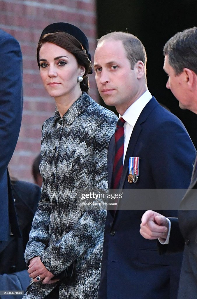 Catherine, Duchess of Cambridge, Prince William, Duke of Cambridge and Prince Harry attend the Somme Centenary commemorations at the Thiepval Memorial on June 30, 2016 in Thiepval, France.