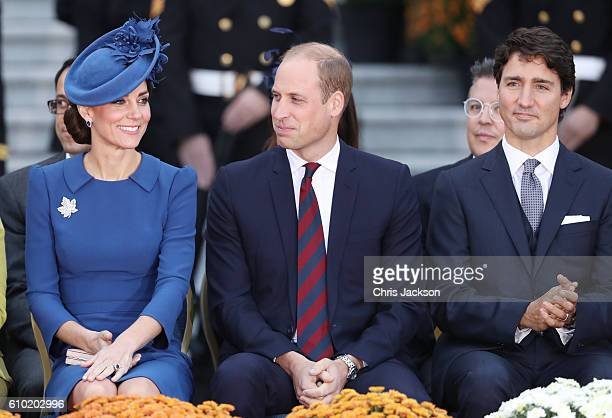 Catherine, Duchess of Cambridge, Prince William, Duke of Cambridge and Canadian Prime Minister Justin Trudeau attend the Official Welcome Ceremony...