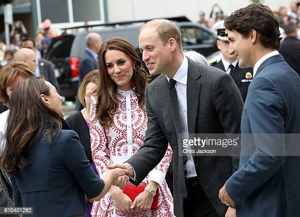Catherine Duchess of Cambridge Prince William Duke of Cambridge and Prime Minister Justin Trudeau arrive to the Immigrant Services Society a...