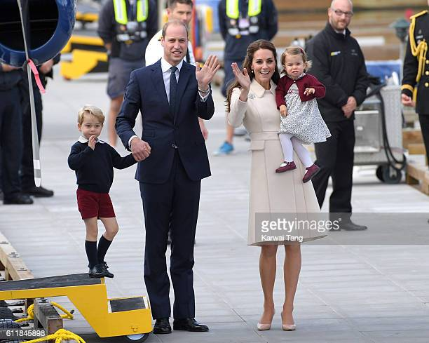 Catherine Duchess of Cambridge Prince William Duke of Cambridge Prince George and Princess Charlotte wave to wellwishers as they depart Victoria...