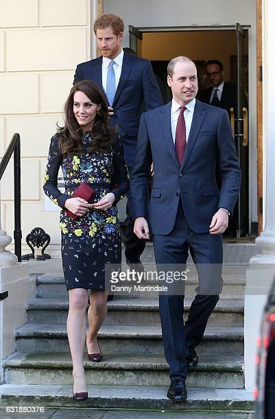 Catherine Duchess of Cambridge Prince William Duke of Cambridge and Prince Harry attends a briefing to announce plans for Heads Together ahead of the...