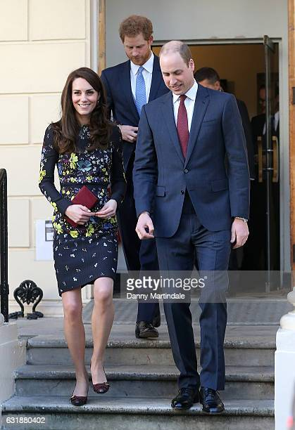 Catherine, Duchess of Cambridge, Prince William, Duke of Cambridge and Prince Harry attends a briefing to announce plans for Heads Together ahead of...