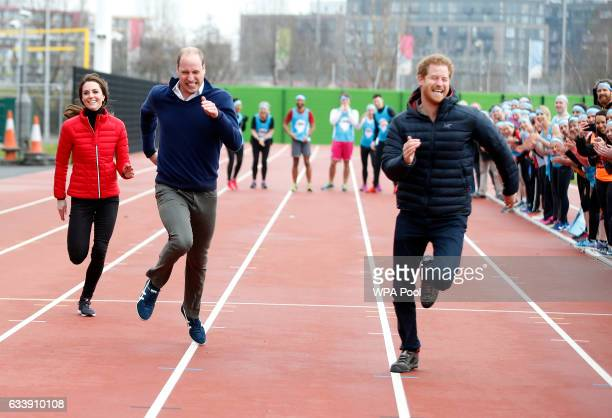 Catherine, Duchess of Cambridge, Prince William, Duke of Cambridge and Prince Harry race during a Marathon Training Day with Team Heads Together at...