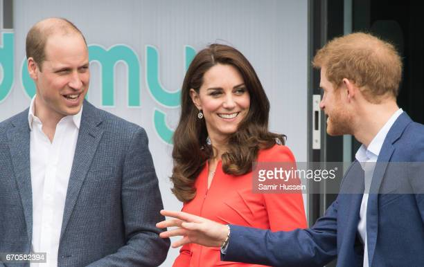 Catherine Duchess of Cambridge Prince William Duke of Cambridge and Prince Harry attend the official opening of The Global Academy in support of...